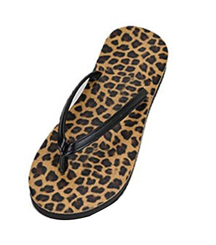 Sentao Sandalias Para Mujer,Comodidad Antideslizante Chanclas Playa Piscina Sandalias Leopardo