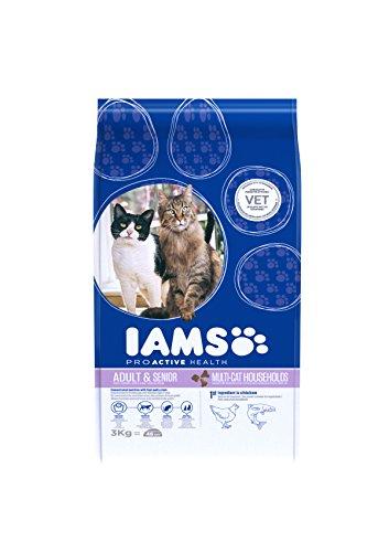 Iams Adult Multi-Cat Trockenfutter (für Haushalte mit mehreren erwachsenen Katzen, mit viel Huhn und Lachs, enthält viel hochwertiges tierisches Protein), 3 kg Beutel