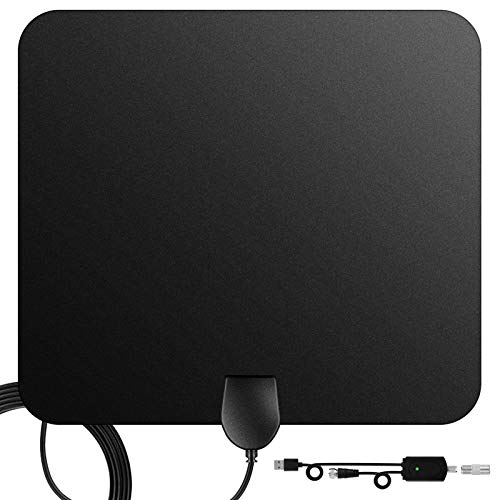 TV antenna,Indoor Digital HDTV Amplified Television Antennae Freeview 4K 1080P HD VHF UHF for Local Channels 60 to 120 Miles Range With Signal amplifier Support ALL TV's 13.3ft Coax Cable