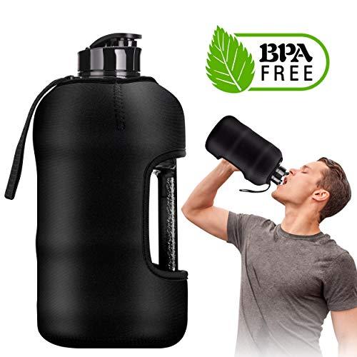 Kaptron Gym Water Bottle with Case - Bodybuilding Water Bottle - Strong Durable 2.2 Litre Water Bottle with Handle - BPA Free Large Half Gallon Sports Water Bottles (Black, Medium)
