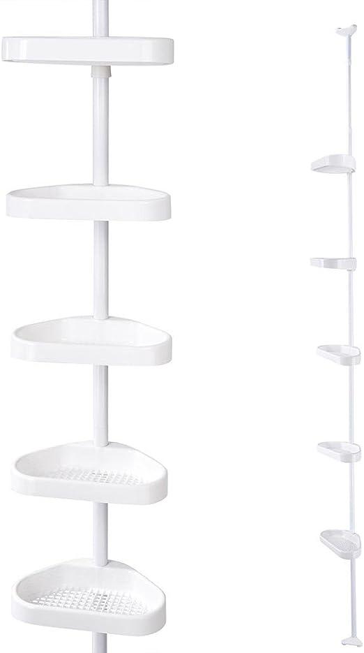 Yestarry 5 Tier Shower Tension Pole Caddy Bathroom Corner Shelf Bath Storage Rack Tower Organizer Basket Home Hotel Home Kitchen