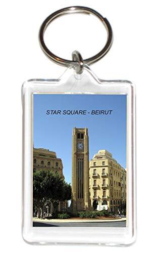 (Lebanon Lebanese Acrylic Keychains KeyRings Holders (1 Piece, Style: Star Square-Beirut #5))