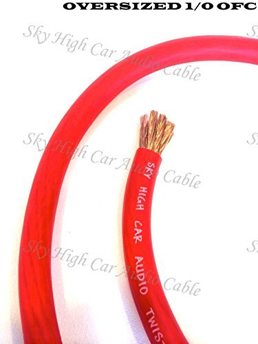 5 ft OFC 1/0 Gauge Oversized RED Power Ground Wire Sky High Car Audio