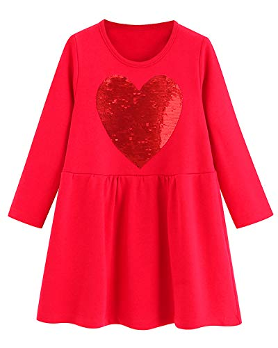 Striped Heart Dress - Youlebao Girls Cotton Long Sleeve Casual Cartoon Appliques Striped Jersey Dresses (5T, Reversible Sequin Heart)