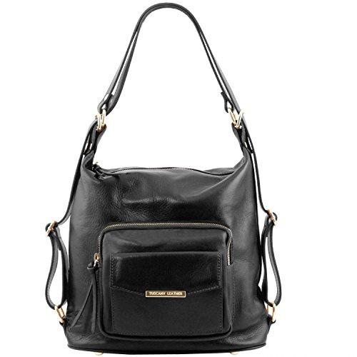 Beige Bag Leather Donna Convertibile Pelle Borsa Nero Tl Tuscany In A Zaino qvFdEE1