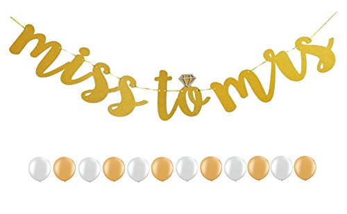 """tter """"Miss to Mrs"""" Banner for Bridal Shower and Bachelorette Party Decoration Supplies, 12 pcs Shining Balloons (Bridal Shower Sweatshirts)"""