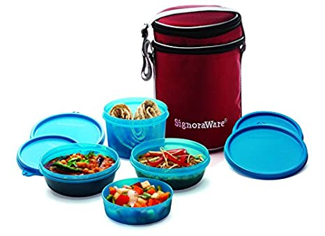 Signoraware Perfect Lunch Box with Bag, 15cm, T Blue