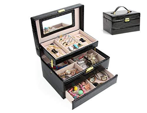 Jewelry Box Organizer Three-Layer Jewelry Display Storage Leather Case with Automatic Lock and Mirror (Black)