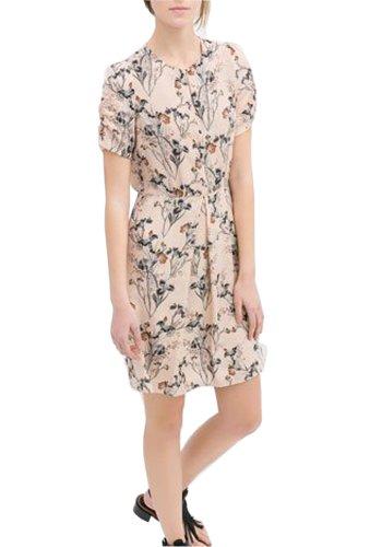 HaboZoo Womens Short Sleeve Crewneck Printed Waisten Pleated Dress Small