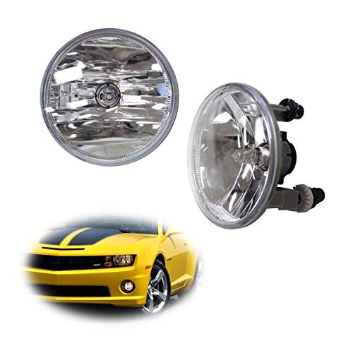 iJDMTOY One Pair Driver Passenger Sides Fog Light Lamps w/5202 Halogen Bulbs Compatible With Chevrolet GMC Ford (OEM# 15839896)