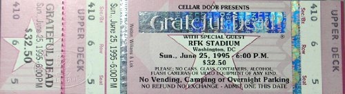 Grateful Dead Bob Dylan 1995 RFK Unused Concert Ticket