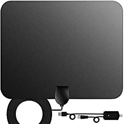 TV Antenna, Indoor Digital HDTV Amplified Television Antenna Freeview 4K 1080P HD VHF UHF for Local Channels 130 Miles Range with Signal Amplifier Support All TV 16.5 feet Coax Cable ...