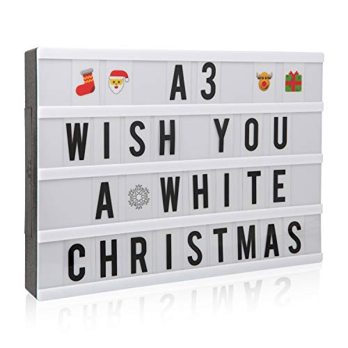ME456 Cinematic Light Up Box with 150 Letters, Numbers and Emojis, A3 Size LED Message Cinema Sign for Home Decoration, Christmas Party, Wedding, Birthday-Ideal Christmas Gift Choice
