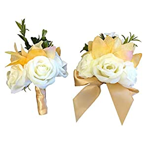 Abbie Home Wedding Wrist Corsage Boutonniere Set Brooch Pin for Suit Party Prom Hand Flower Décor (Orange) 94