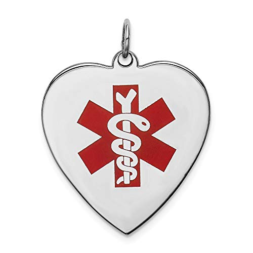 925 Sterling Silver Engraveable Enameled Large Heart Medical Alert Pendant Charm Necklace Fine Jewelry Gifts For Women For Her