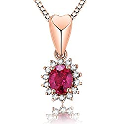Rose Gold Red Ruby Diamond Pendant