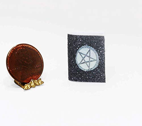 Dollhouse Miniature Halloween Spell Book in Black Glitter ()