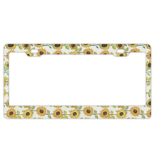 Customized Personalized Stainless Steel License Plate Frame Holder, Decorative License Plate Frame Sunflowers Pattern