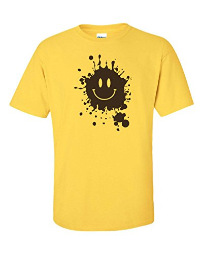 All Things Apparel Smiley Face with Mud Splatter Men's T-Shirt - Large Daisy (ATA661)