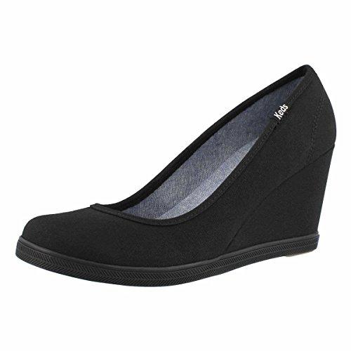 Keds Walking Shoes - Keds Women's Damsel Twill Wedge Black 8.5 M US