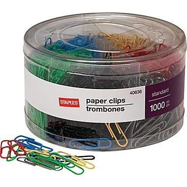(Staples; #1 Size Vinyl-Coated Paper Clips, 1000/Tub)