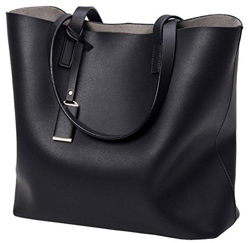 Ladies Bag Big Capacity Bag 2 Shoulder Black pcs Tote Set Black Leather Handbag Large Faux xIr4Yx