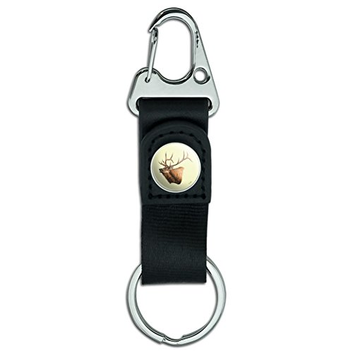 Elk Head Hunting Belt Clip-On Carabiner Leather Fabric Keychain Key Ring