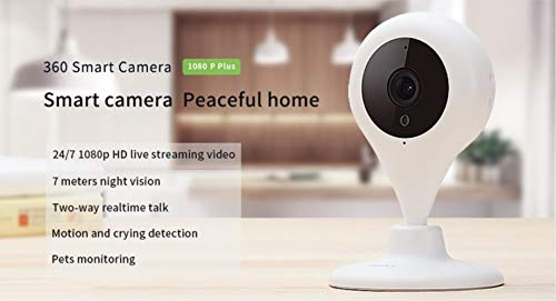 360 Wireless Smart Home Security Camera 1080p HD Indoor Surveillance IP System with Night Vision, Two Way Audio and Motion Detection Remote Control for Baby and Pet,360 App for iOS and Android by 360 (Image #1)