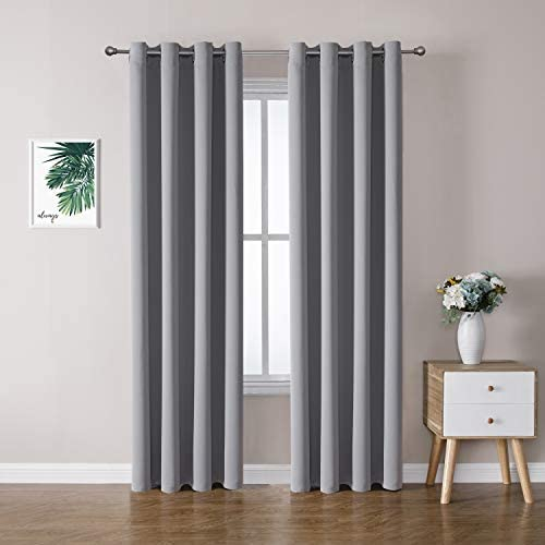 ChrisDowa Grommet Blackout Curtains for Bedroom and Living Room – 2 Panels Set Thermal Insulated Room Darkening Curtains Light Grey, 52 x 84 Inch