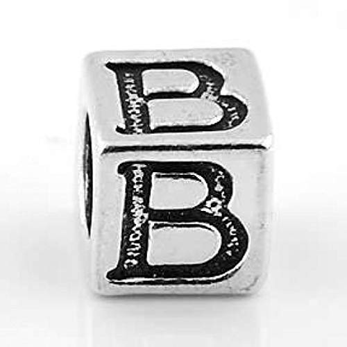 (Sterling Silver Block Letter Initial B Cube Charm Jewelry Making Supply Pendant Bracelet DIY Crafting by Wholesale Charms)
