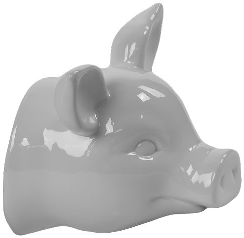 Urban Trends 46635-UT Decorative Ceramic Pig Head Wall Decor, White Pig Wall