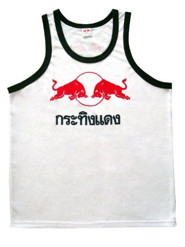 Red Bull Tank Top in Thai Wording Design (Kra Ting Dang) - White Size L