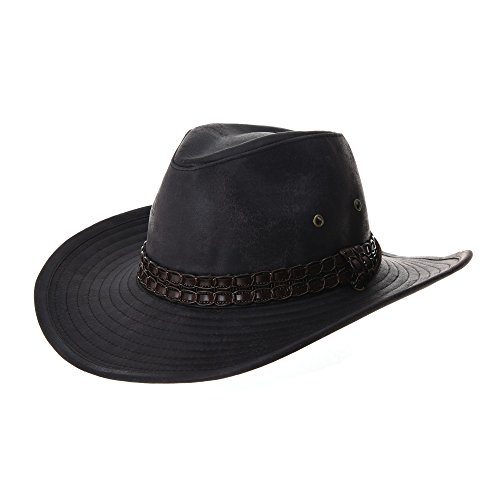 Cowboy Leather (WITHMOONS Indiana Jones Hat Weathered Faux Leather Outback Hat GN8749 (Black))