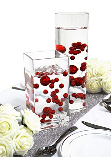 Evershine Floating Vase Filler Pearl - No Hole Assorted Size Pearl with Transparent Water Gel Beads. - Vases Red Tall