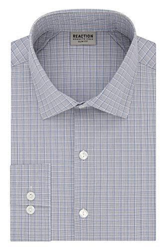 Kenneth Cole REACTION Men's Dress Shirt Technicole Slim Fit Check, Blue/Multi 16