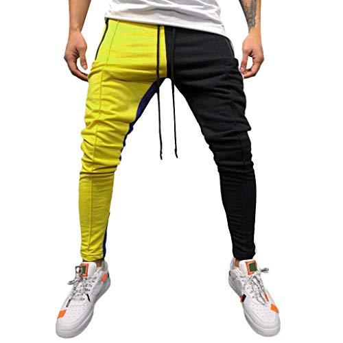 COPPEN Men Solid Loose Patchwork Color Sweatpant Trousers Jo