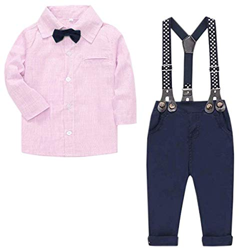 Baby Boys Clothes, Long Sleeves Dress Shirt Dress Shirt and Suspender Pants Set Tuxedo Gentlemen Outfit with Bow Tie for Newborn Toddlers Baby Boys, S01 Pink, 12-18 Months/Tag 90