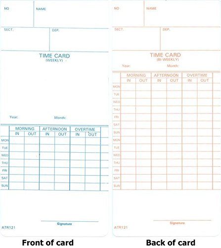 Time Card for Model Atr120 Electronic Clock, Weekly or Biweekly, 250/Pack, Sold as 2 Package