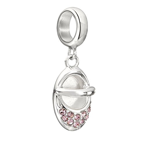 - Chamilia Authentic Sterling Silver Charm Twinkle Toes w/Pink Swarovski 2025-1072