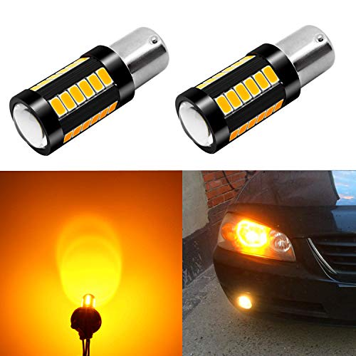 Alla Lighting 2800lm BA15S 7506 1156 LED Turn Signal Light Bulbs Xtreme Super Bright P21W 1156 LED Bulbs High Power 5730 33-SMD LED 1156 Bulb for Turn Signal Light Lamp Replacement, Orange Yellow