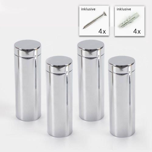 Wandhalter Schilder Befestigung Spiegel Chrom 4er Set PLEXIGLAS/® Halter Alu Abstandshalter 20 x 50 mm in Chrom
