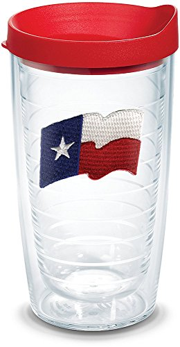 (Tervis 1105462 Texas Flag Insulated Tumbler with Emblem and Red Lid, 16oz, Clear)