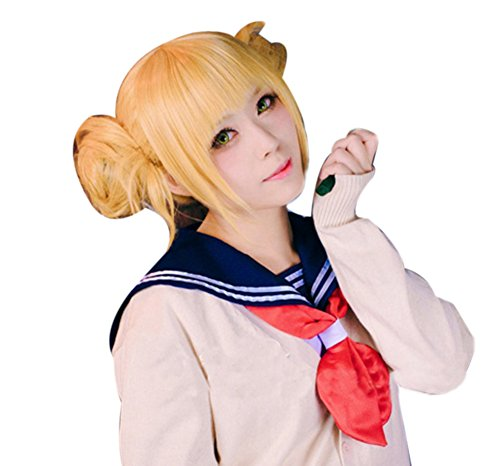 ROLECOS Himiko Toga Anime Wigs Womens 2 Ponytails Party Wigs Blonde JF271]()