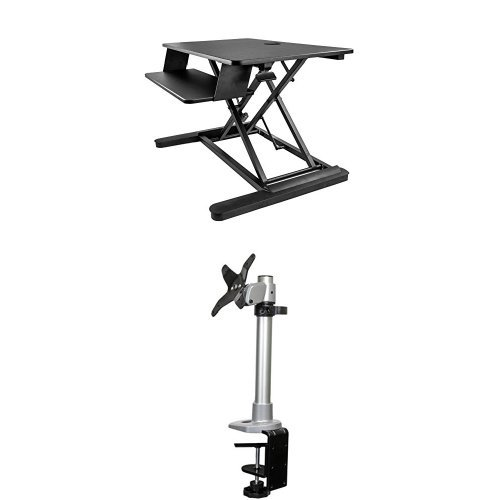 StarTech.com Sit Stand Desk Converter with Monitor Arm - Up