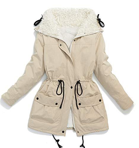 (Ecupper Teen Girl's Faux Sheep Curl Collar Fleece Parkas Plus Size Sherpa Lined Jacket Coat Apricot XL)