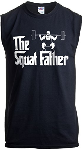 The Squat Father | Funny Workout Weight Lifting Sleeveless Muscle Shirt for Men-(Adult,L) Black (Best Leg Day Workout)