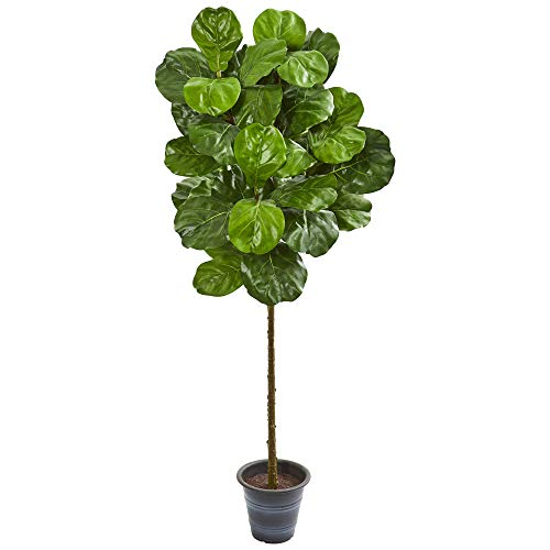 Nearly Natural 9137 5-Ft. Fiddle Leaf Artificial Decorative Planter Silk Trees Green