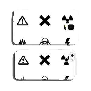 Vector black danger icon set cell phone cover case Samsung S6
