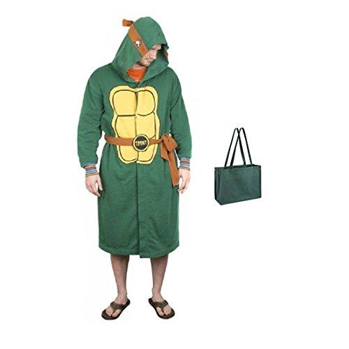 Teenage Mutant Ninja Turtles Mens' Hooded Robe with Belt and Tote 2 Piece Gift Set (S/M) Green (Turtles Robe Mens Ninja)