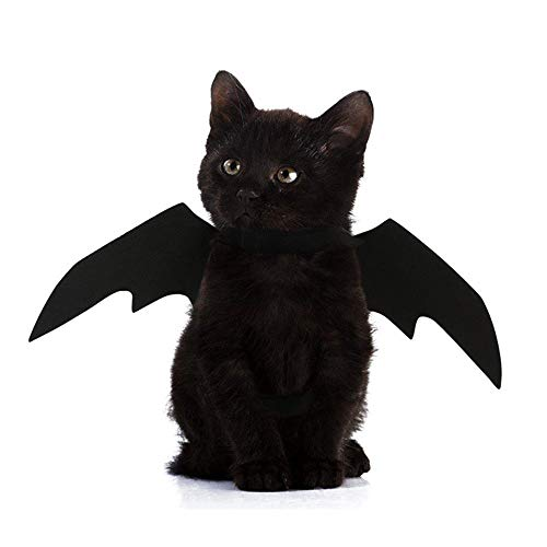 Weite Halloween Pet Clothes, Mysterious Animal Pet Dog Cat Bat Vampire Fancy Dress Costume Outfit Black Wings (Black)]()